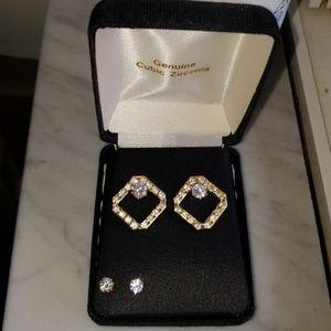 Genuine Cubic Zirconia Earrings Set.